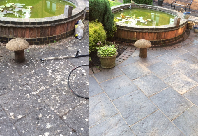 Before and After Patio Cleaning Rutland