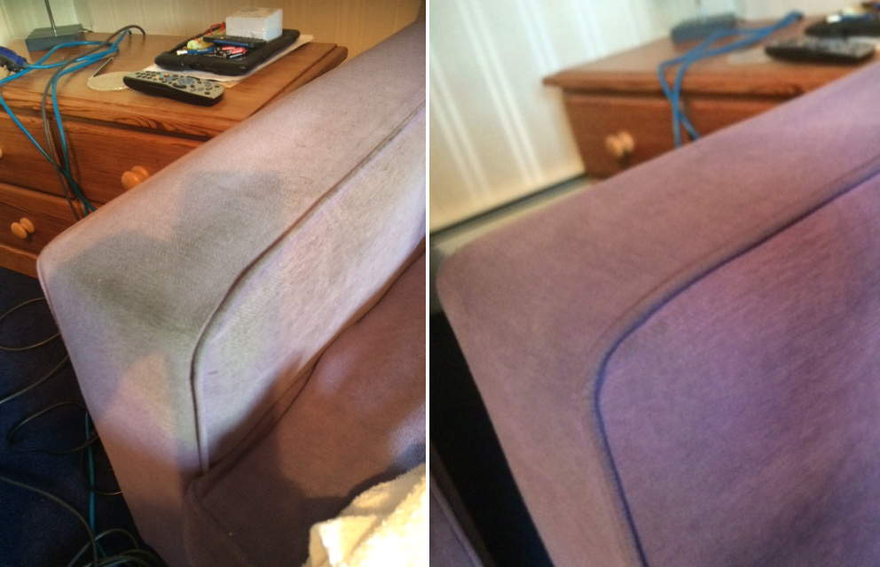 rutland cleaning comapny sofa arm before and after