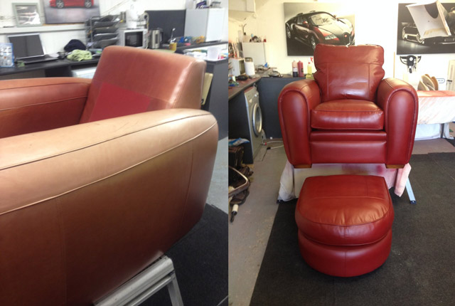 the Rutland Cleaning Company Leather Cleaning and Leather Restoration Chair Before and After