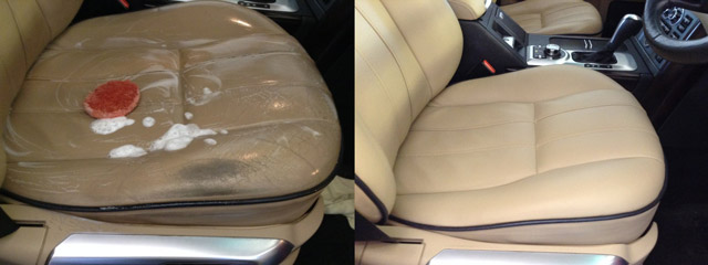 the Rutland Cleaning Company Leather Cleaning and Leather Restoration range rover seat before and after