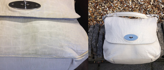 the Rutland Cleaning Company Leather Cleaning and Leather Restoration White Bag Before and After